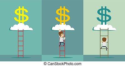 argent, échelle, vecteur, illustration., cloud.