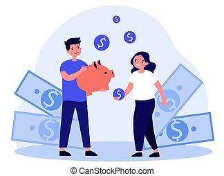 argent, économie, gosses, heureux