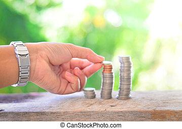 argent, économie, vert, arrière-plan.