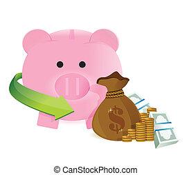 argent, économies, sac
