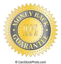 argent, écusson, dos, garantie