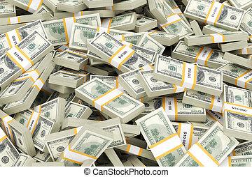 argent, énorme, tas