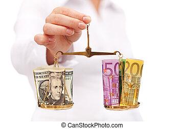 argent, équilibre, -, concept financier