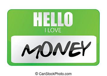 argent, étiquette, amour, bonjour