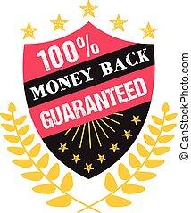 argent, 100%, écusson, dos, guaranteed