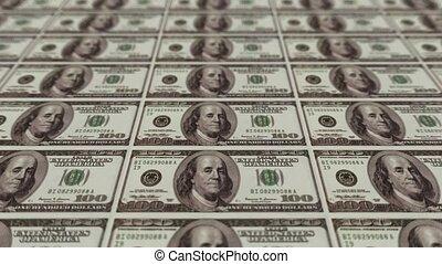 argent, 100 billets banque dollars