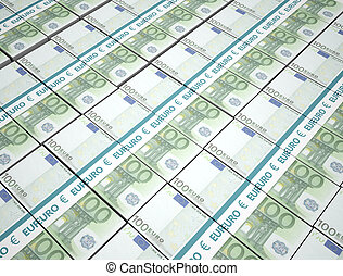argent, 100, paquets, fond, euros
