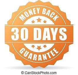 argent, 30, jours, dos, icône, garantie