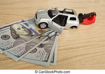 argent, accident, deux, fond, voitures
