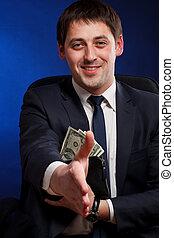 argent, accueil, faire gestes, homme affaires, signe