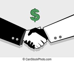 argent, affaire, poignée main