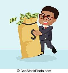 argent, africaine, amour, homme affaires