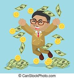 argent, africaine, pleuvoir, homme affaires