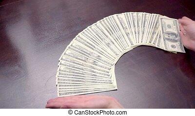 argent, américain, usd, paquet, table