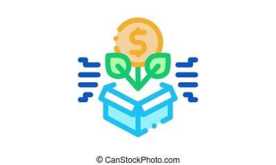 argent, animation, arbre, icône, croissant