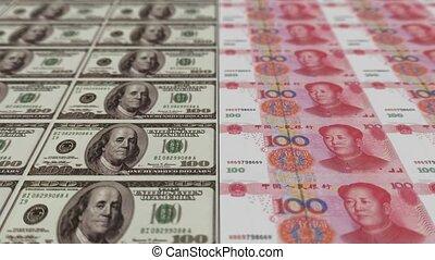 argent, animation, impression, dollar