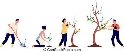 argent., arbre., croissance, pièces, mettre, concept affaires, fund., prospérité, homme affaires, investissement, revenu, vecteur, jeune, graine, financier, riche, gens