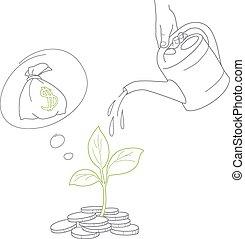 argent, arrosage, arbre, main, boîte, humain, monnaie