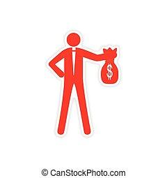 argent, autocollant, sac, papier, élégant, homme