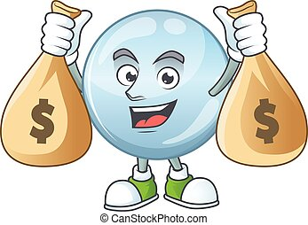 argent, avoir, caractère, sacs, gouttelettes, riche, dessin ...
