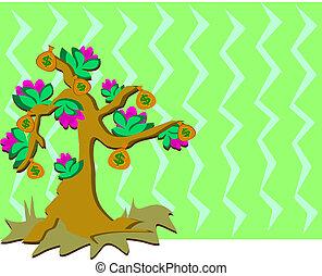 argent, backgro, fleurs, arbre