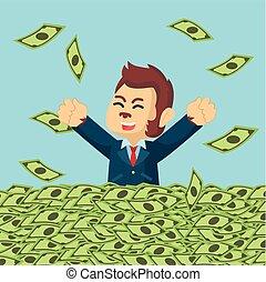 argent, baigner, quelque chose de louche, heureux