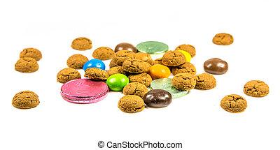 argent, biscuits, chocolat, bonbons, frontal, pepernoten, ...