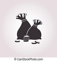 argent, blanc, icône, fond, sac