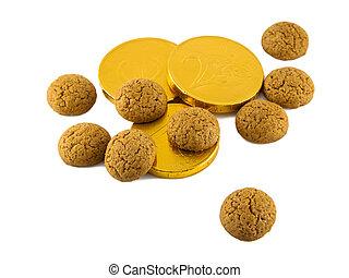 argent, blanc, pepernoten, chocolat