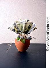 argent, blanc, pot, arbre, fond