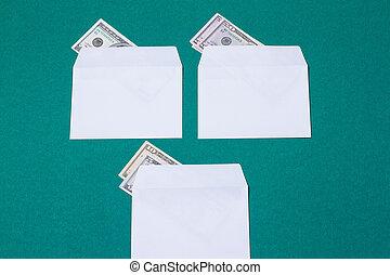 argent, blanc, trois, enveloppes