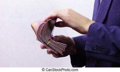 argent, boulettes, homme affaires, hands.