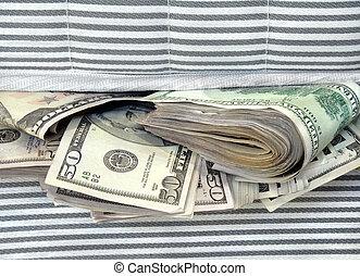 argent, bourré, entre, les, matelas