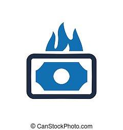 argent, brûlé, icône