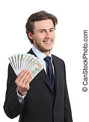 argent, business, heureux, jeune homme, projection