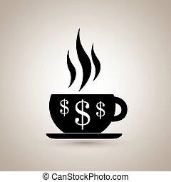 argent, café, conception