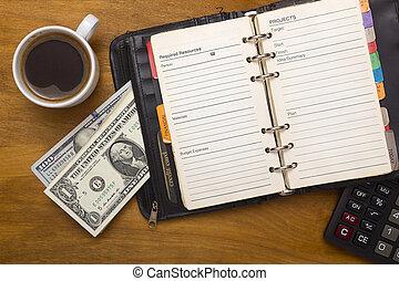 argent, café, quotidiennement, ouvert, tasse