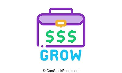 argent, cas, animation, icône, croissant