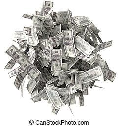 argent, chiffonné, tas, bills.