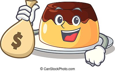 argent, chocolat, sac, pudding, délicieux, dessin animé