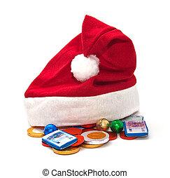 argent., claus, chapeau, santa, chocolat