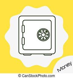 argent, coffre-fort, conception, icône