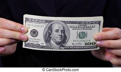 argent, compte, femmes affaires, hands.