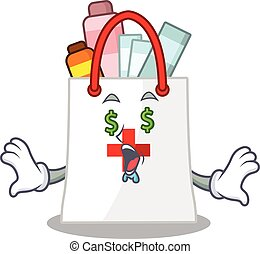 argent, concept, achats, dessin animé, sac, drogue, caractère, riche, yeux