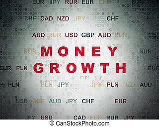 argent, concept:, argent, croissance, sur, numérique, données, papier, fond