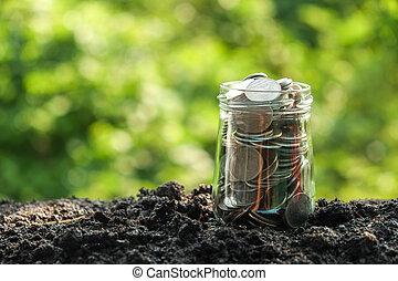 argent, concept, croissance, pièces, sol