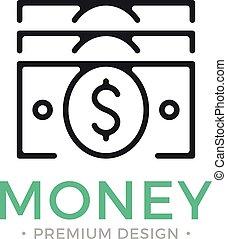 argent, concept., dollar, espèces, vecteur, tas, icon., noir, ligne, factures, pile, icône