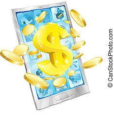 argent, concept, dollar, téléphone