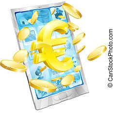 argent, concept, euro, téléphone
