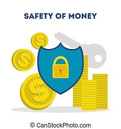 argent, concept., idée, économies, sûreté protection